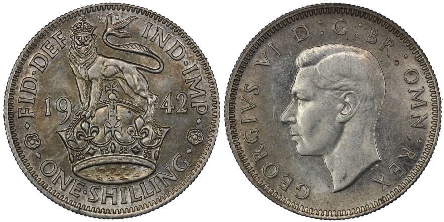 1942 'English' Shilling, George VI, UNC with weak rev, ESC 1462, Bull 4133