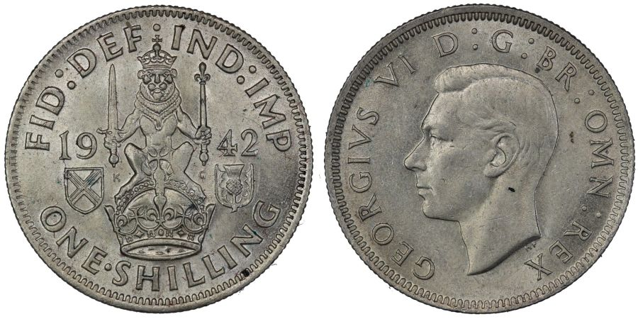 1942 'Scottish' Shilling, gEF weak strike, George VI, ESC 1463, Bull 4164