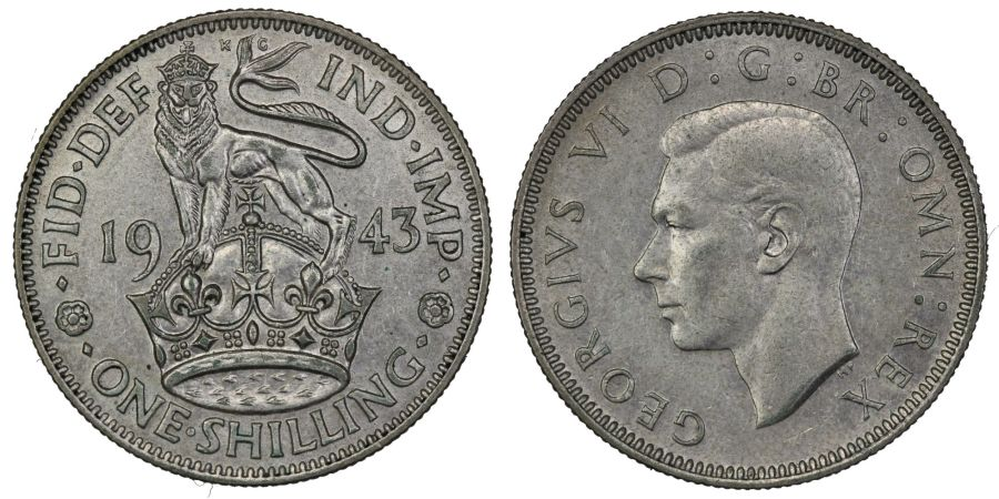 1943 'English' Shilling, EF, ESC 1464, Bull 4136