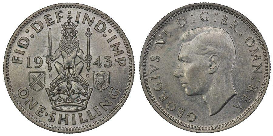 1943 'Scottish' Shilling, aUNC obv scratch, George VI, ESC