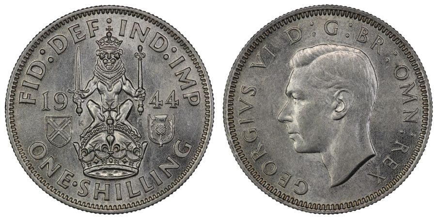1944 'Scottish' Shilling, UNC, George VI, ESC 1467, Bull 4170