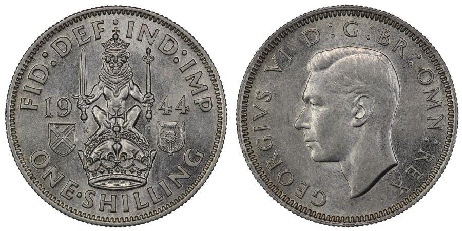1944 'Scottish' Shilling, UNC, George VI, ESC 1467, Bull 4170