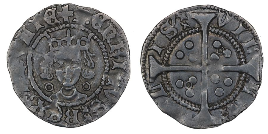 1422-1427, Penny, Henry VI, Calais mint, Annulet issue (by neck and in 2 quarters), Ex CNG (March 2001)