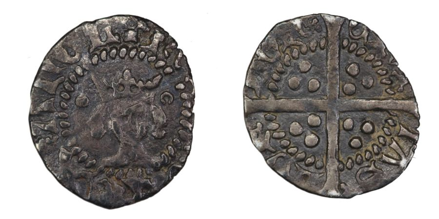 1413-1422, Halfpenny, Henry V, .34g, Withers 6, Pellet to left broken annulet to right, Stewartby p. 334 (Class C?), Rare vriation of N. 1409 and S. 1794