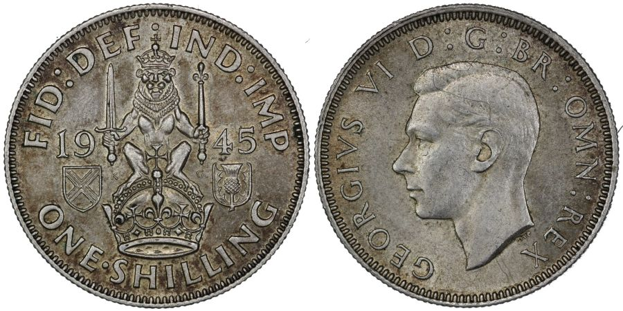 1945 'Scottish' Shilling, gEF, George VI, ESC 469, Bull 473