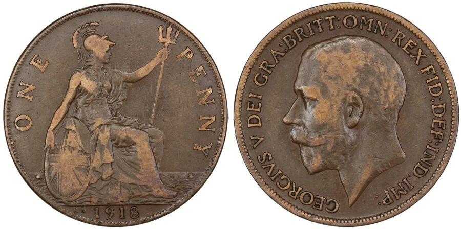 1918 'KN' Penny, gFine, George V, Freeman
