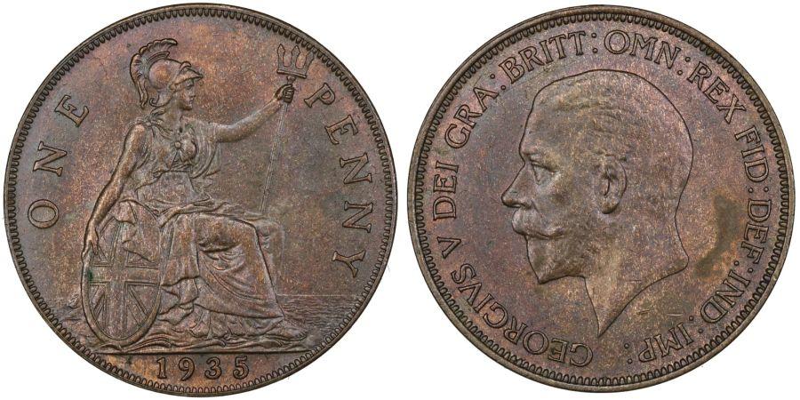 1935 Penny, gEF, George V, Freeman 212