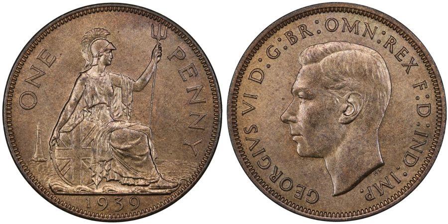 1939 Penny, UNC, George VI, Freeman 224