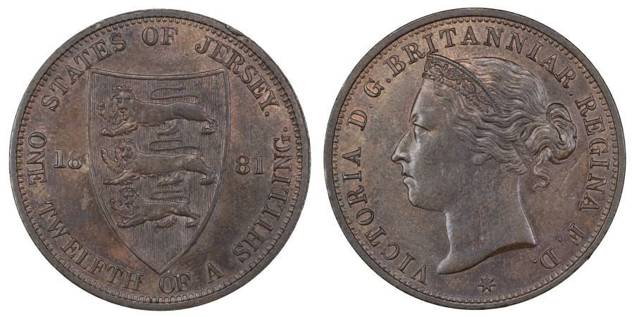 1881 One twelfth of a shilling, Victoria, Beautiful toning, Low mintage of 75,153,  Spink 7006