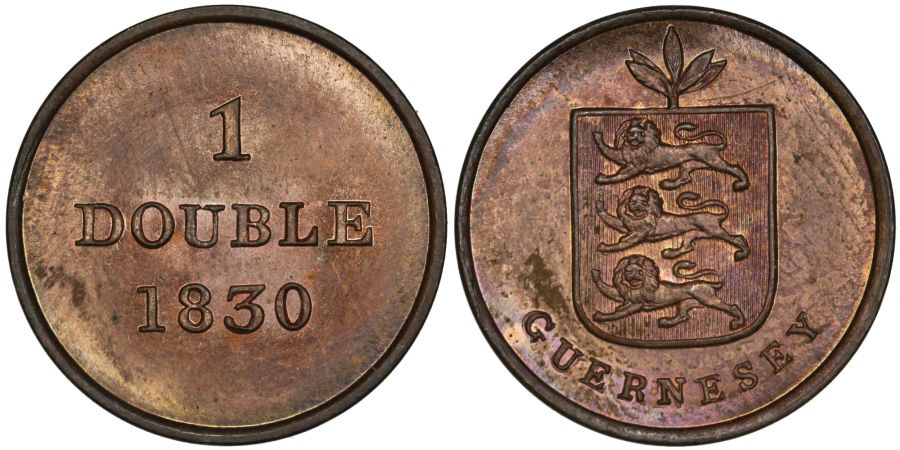 1830 1 Double, UNC, Guernsey, William IV, Spink 7202