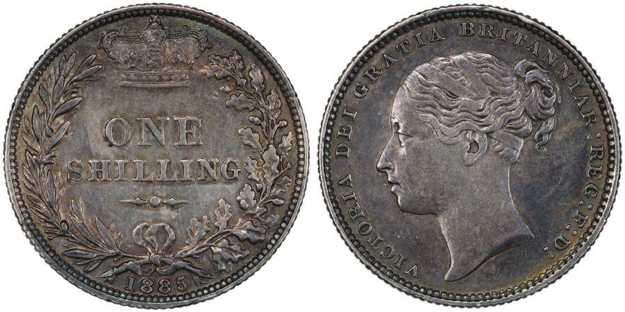 1885 Shilling, gVF/VF, Victoria, ESC 1345, Bull 3076