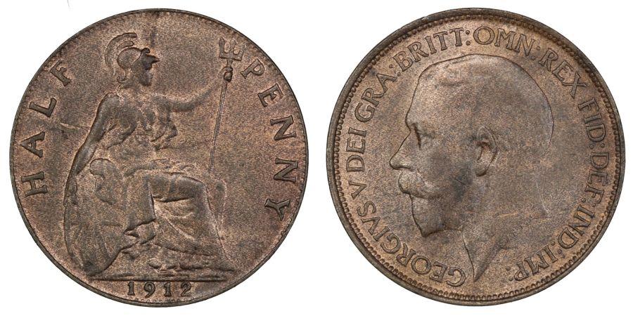 1912 Halfpenny, UNC, George V, rev scratch, Freeman 391