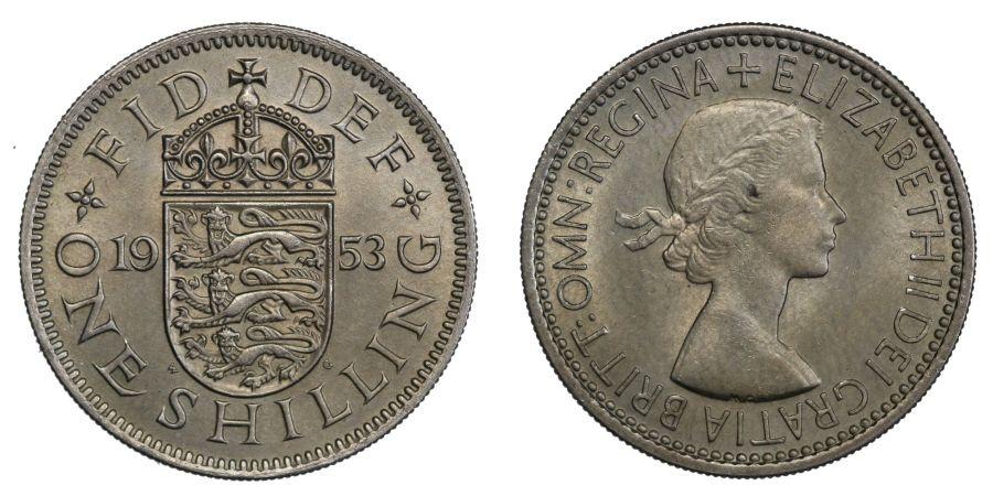 1953 'English' Shilling, EF, Elizabeth II, ESC 1475K