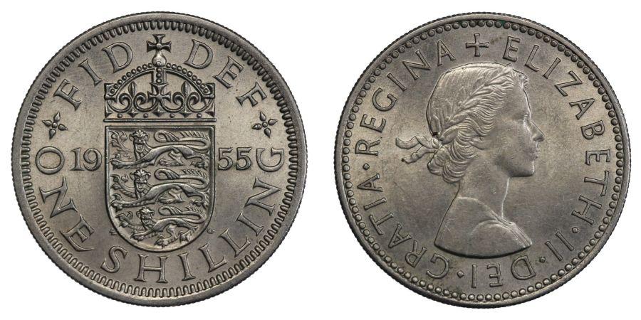 1955 'English' Shilling, AU, Elizabeth II, ESC 1475Q