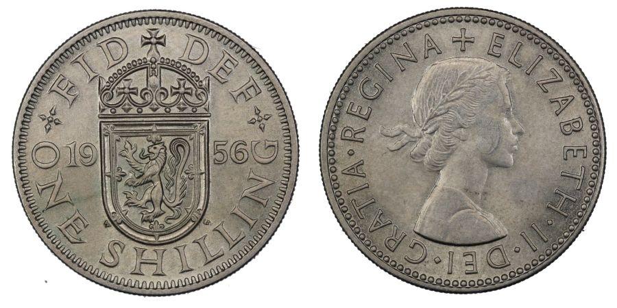 1956 'scottish' Shilling, UNC, Elizabeth II, ESC 1475T