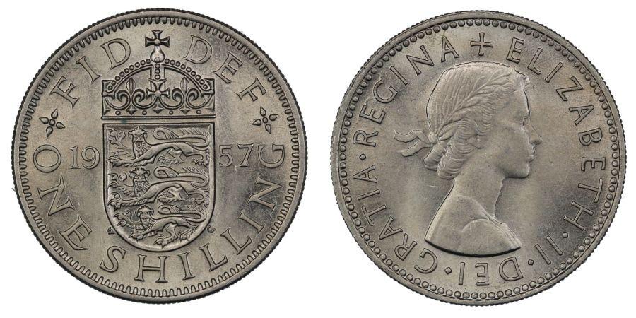 1957 'English' Shilling, UNC, Elizabeth II, ESC 1475U