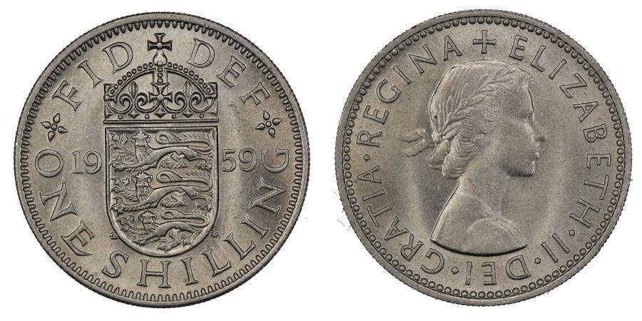 1959 'English' Shilling, UNC, Elizabeth II, ESC 1475Y