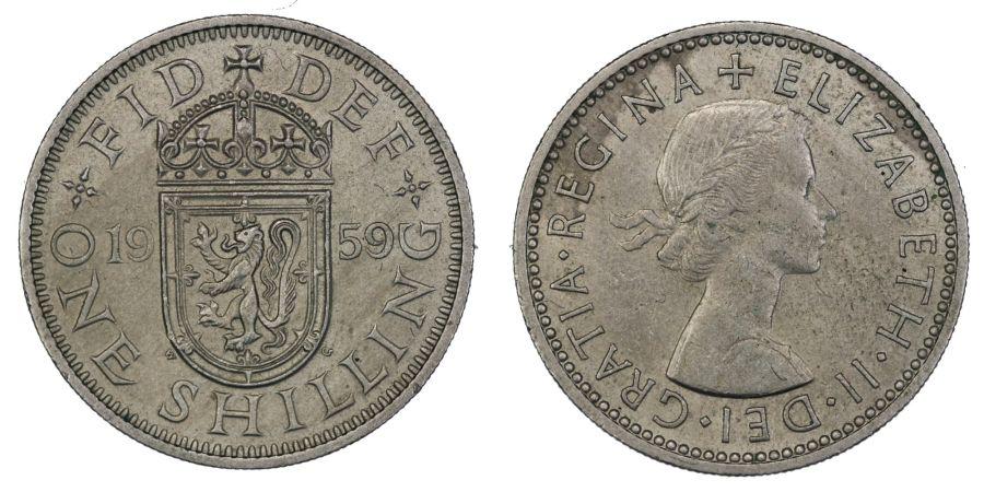 1959 'Scottish' Shilling, EF, Elizabeth II, ESC 1475