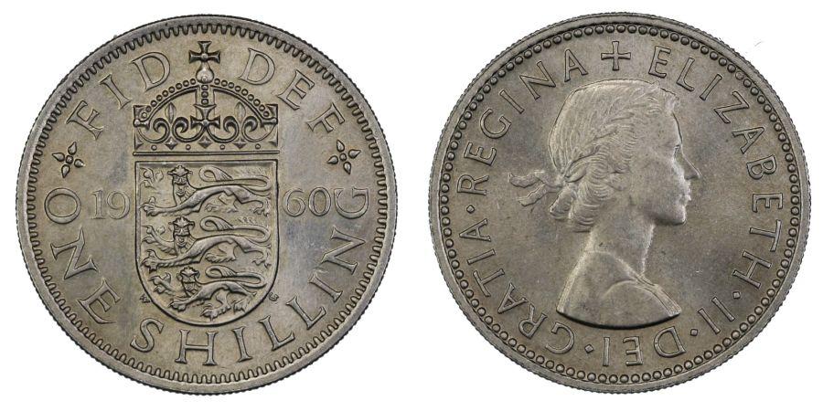 1960 'English' Shilling, UNC, Elizabeth II, ESC 1475AA