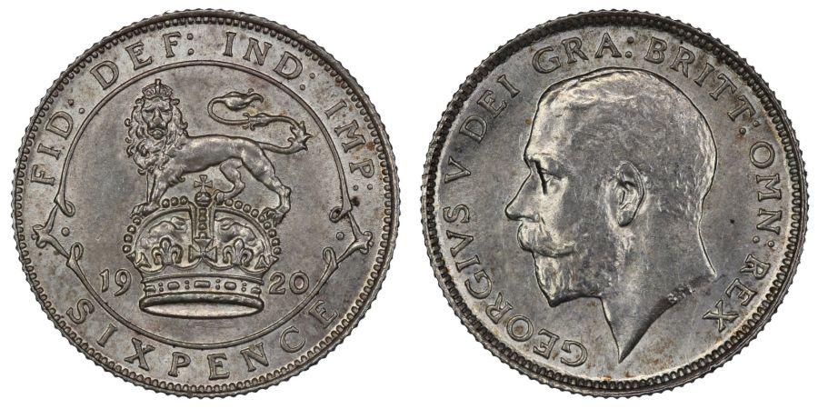 1920 Sixpence, aUNC, George V, ESC 1806, 2.83g