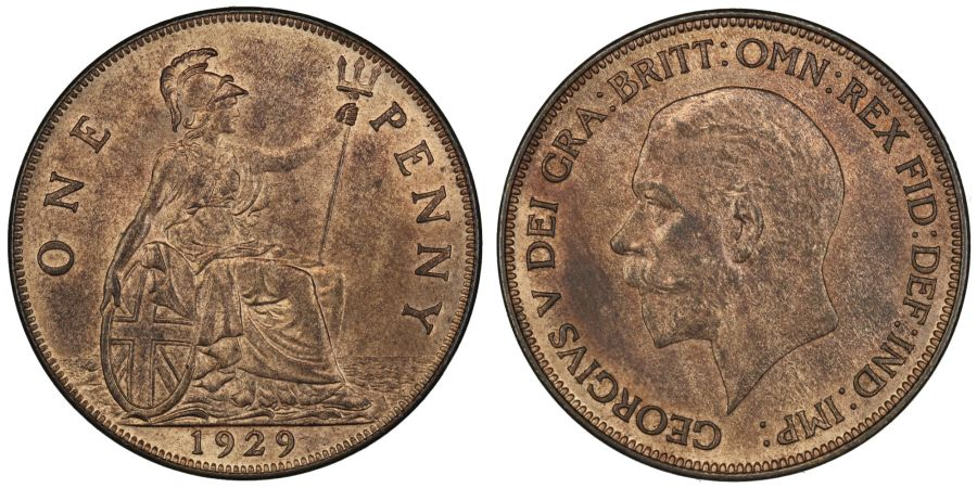 1929 Penny, aUNC with lustre, Freeman 201