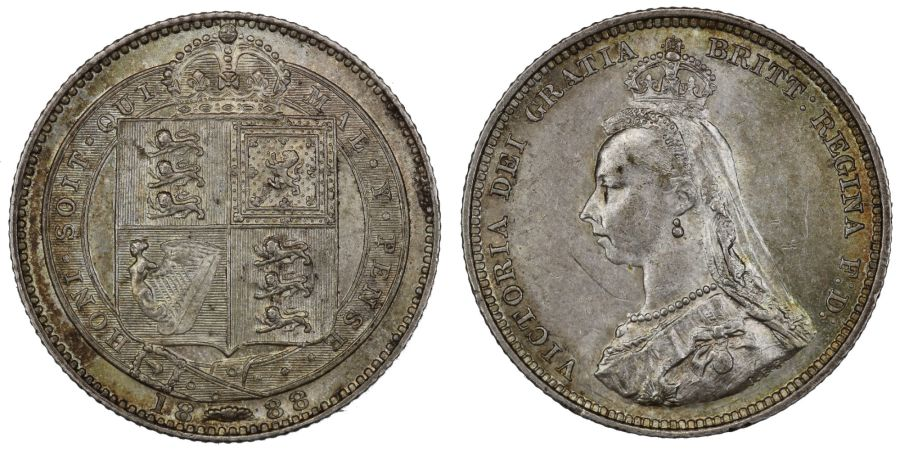 1888/7 Shilling, gEF small scratch attractively toned,Victoria,  ESC 1353