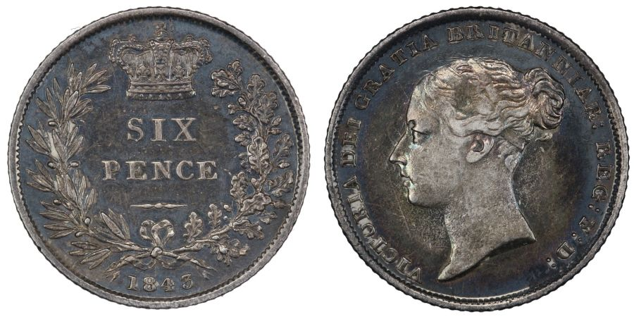 1843 Sixpence, EF/aUNC attractively toned, Rare, Victoria, ESC1689, Bull 3176
