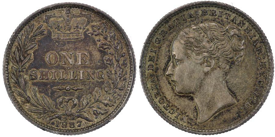 1887 'Young head' Shilling, nEF toned, ESC 1349, Bull 3080, Scarce