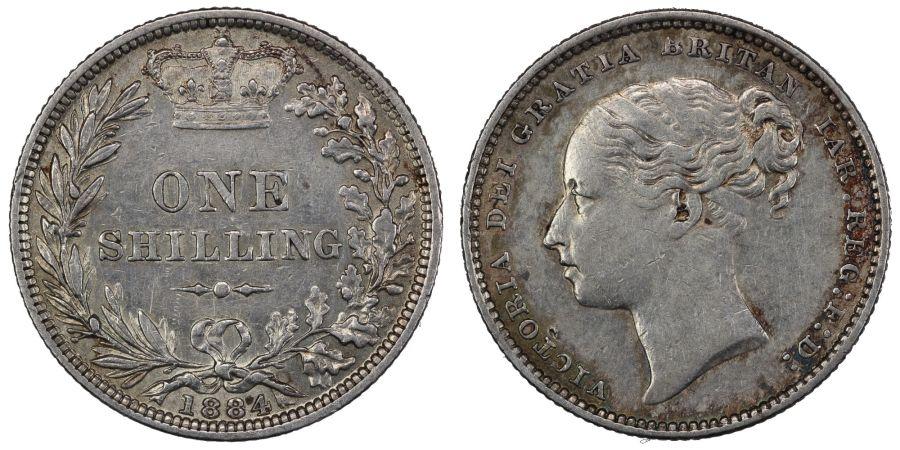 1884 Shilling, gVF, Davies 921, Dies 7D, ESC 1342, Bull 3074