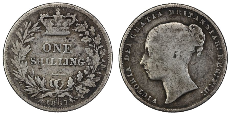 1867 Shilling, Die no. 32, Davies 892, 4+A, ESC 1315 [S], Die no. not recorded for this type