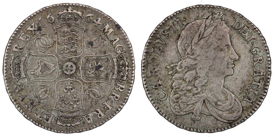 1664 Halfcrown, Second bust, XVI, gFine, Subtly toned, Rare [R2], ESC 460, Bull 445