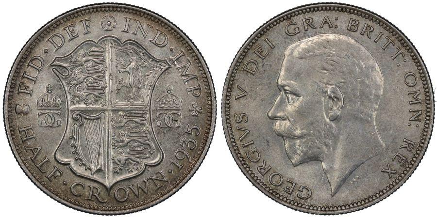 1935 Halfcrown, aUNC, George V, ESC 784