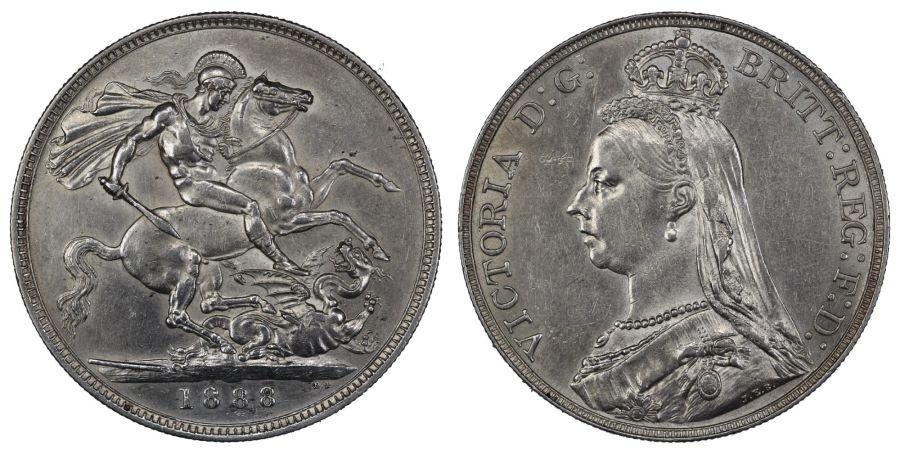 1888 Crown, Wide date, LCGS 60, EF, ESC 298A, Davies 481, Bull 2588, UIN 43477