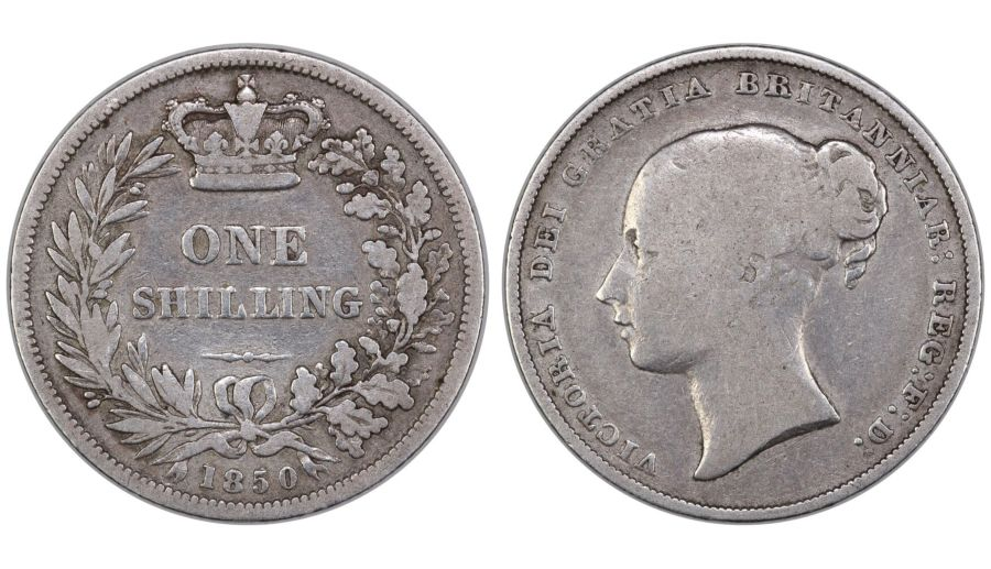 1850 Shilling, LCGS 15, Open O in Victoria, LCGS variety 2, Finest known, UIN 43478