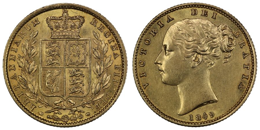 1849 Sovereign, High 4 over normal positioned 4, gEF, Rare, Marsh 32 sub variety