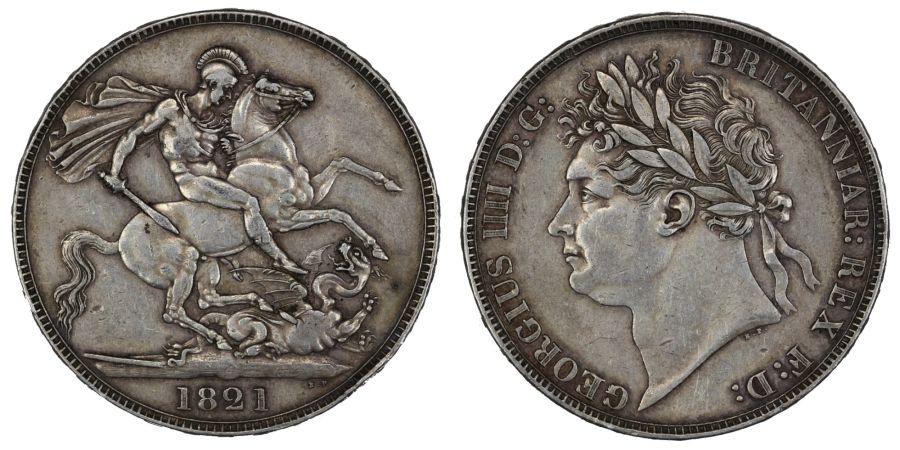 1821 Crown, VF or better, George IV, ESC 246, Bull 2310