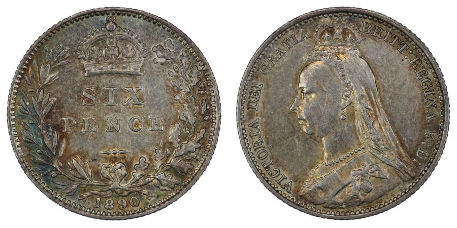 1890 Sixpence, gEF, Victoria, ESC 1758, Bull 3280