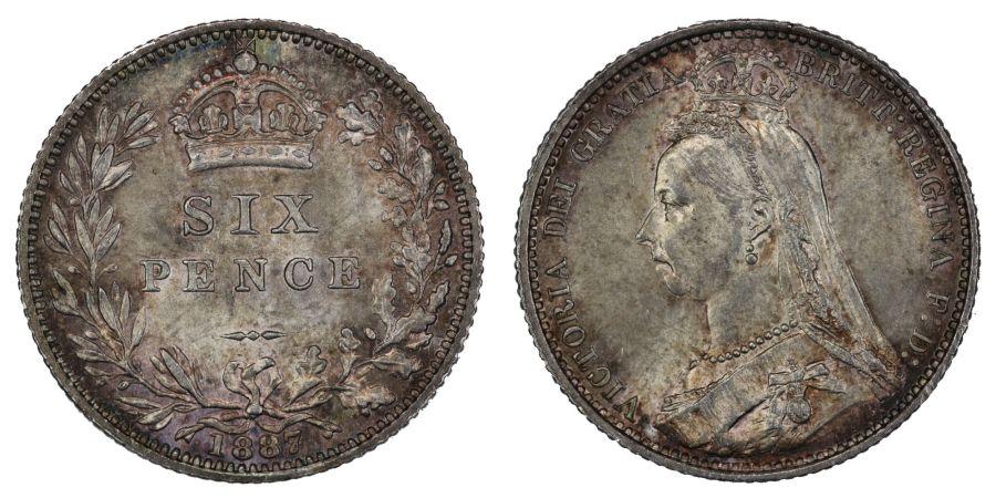 1887 Sixpence, UNC, Victoria jubilee head, Wreath type, ESC 1754, Bull 3272