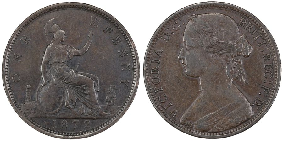 1872 Penny, VF, Victoria, Gouby BP1872Ab, Peck 1688, Freeman 62