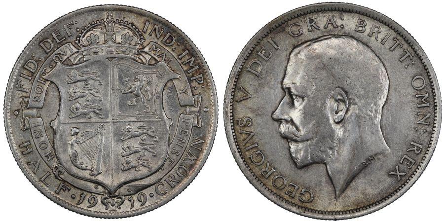 1919 Halfcrown, gVF/nEF, George V, Davies 1670