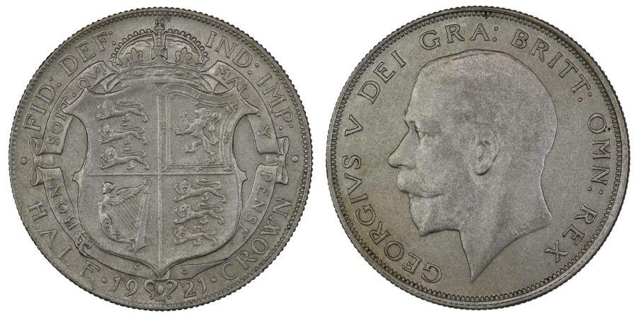 1921 Halfcrown, nEF/EF, George V, ESC 768, Davies 1678, Bull 3722, Dies 3+C1
