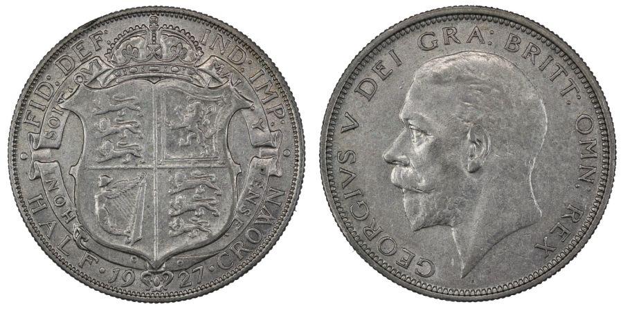 1927 Halfcrown, nEF/gVF, George V, ESC 775, Bull 3730