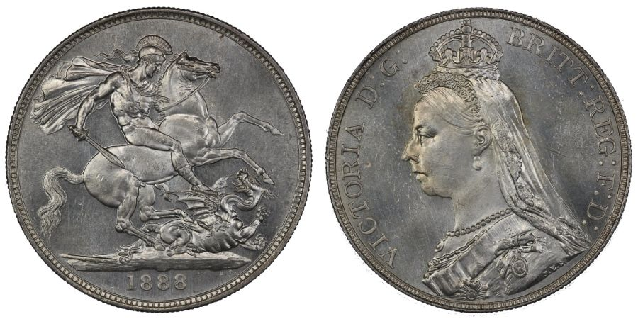 1888 Crown, NGC MS 63, UNC or very near and prooflike, Narrow date, Victoria, ESC 298, Bull 2587, UIN 4866836-005