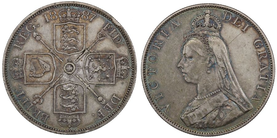 1887 Double-florin 'Roman I', gVF with attractive blue toning, ESC 394, Bull 2695, Davies 540, Dies 1+A