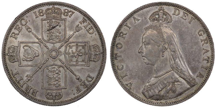 1887 Double-florin 'Roman I', gEF, ESC 394, Bull 2695, Davies 540, Dies 1+A