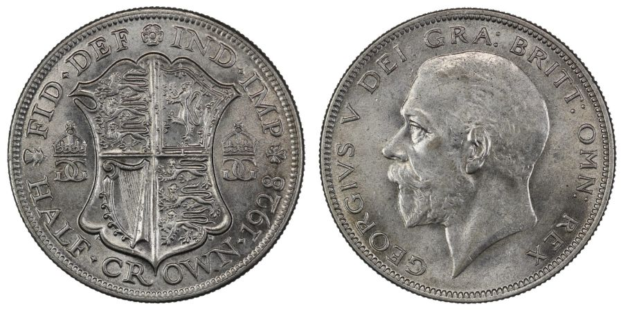 1928 Halfcrown, gEF, 'modified' head puncheon from 1926 Dies 2+B, Davies 1702