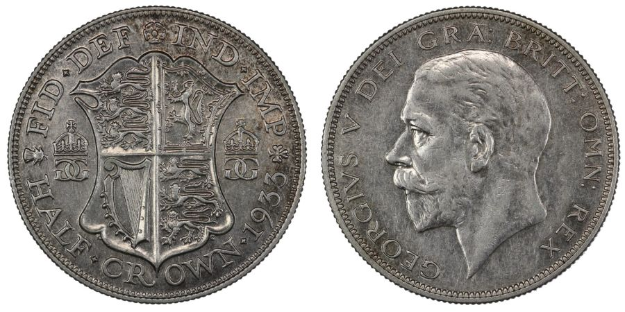 1933 Halfcrown, gEF of better, George V, ESC 782