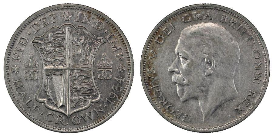 1934 Halfcrown, gVF/nEF, George V, ESC783, Scarce