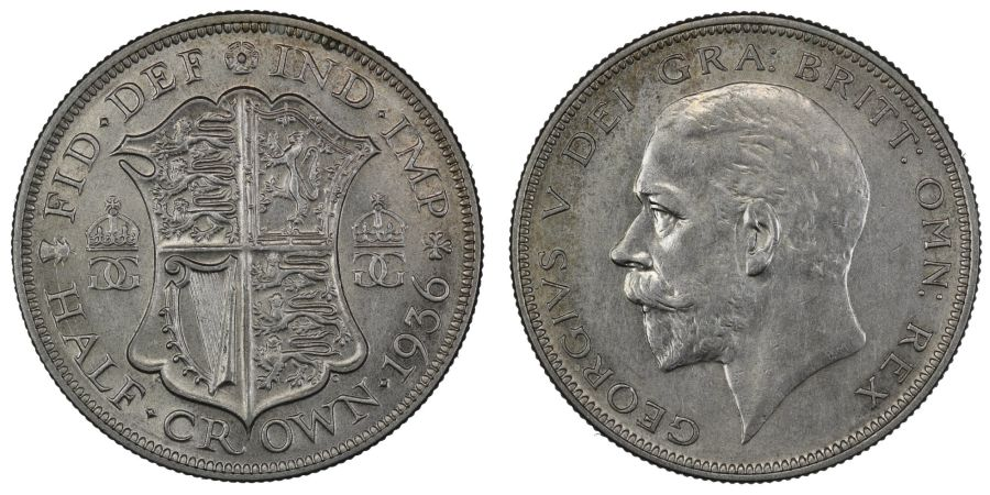 1936 Halfcrown, aUNC, George V, ESC 785, Bull 3751