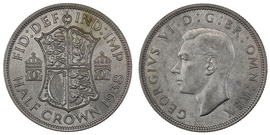 1938 Halfcrown , gEF, George VI, ESC 788